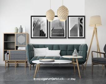 New York. Set of 3 World Trade Center photographs, Manhattan. Black and white. Architecture Photography, Urban Style.