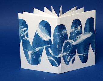 Handmade Zig-Zag notepad bound with an original cyanotype.