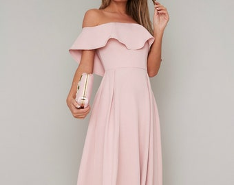 e06025978cc Pink formal dress dusty pink Pale pink asymmetrical 80s 50s sexy prom dress  1970s unique wedding modest blush Graduation dress