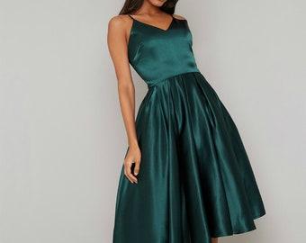 31899a7d5a3a Green satin dress prom Satin maxi silk swing dress Silk chiffon 80s prom  graduation 50s prom homecoming Infinity airy wedding