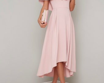 4c4aa952bf7 Pink formal dress dusty pink Pale pink asymmetrical 80s 50s sexy prom dress  1970s unique wedding modest blush Graduation dress