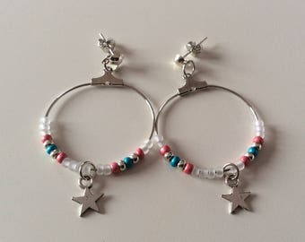 Star earrings with seed beads and metal