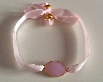 Gemstone bracelet, gold beads and satin ribbon.