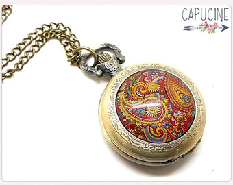 Paisley Pocket Watch Necklace - Paisley Necklace watch bronze - Paisley Glass dome
