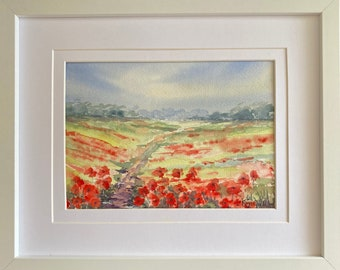 Poppy Fields, West Sussex, England, Framed Original Watercolour / Watercolor Painting