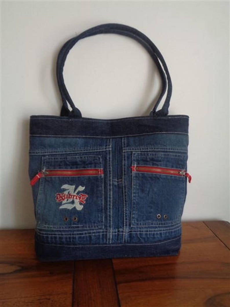 1dcd704bf TOTE bag hands in recycled denim canvas and faux leather star   Etsy