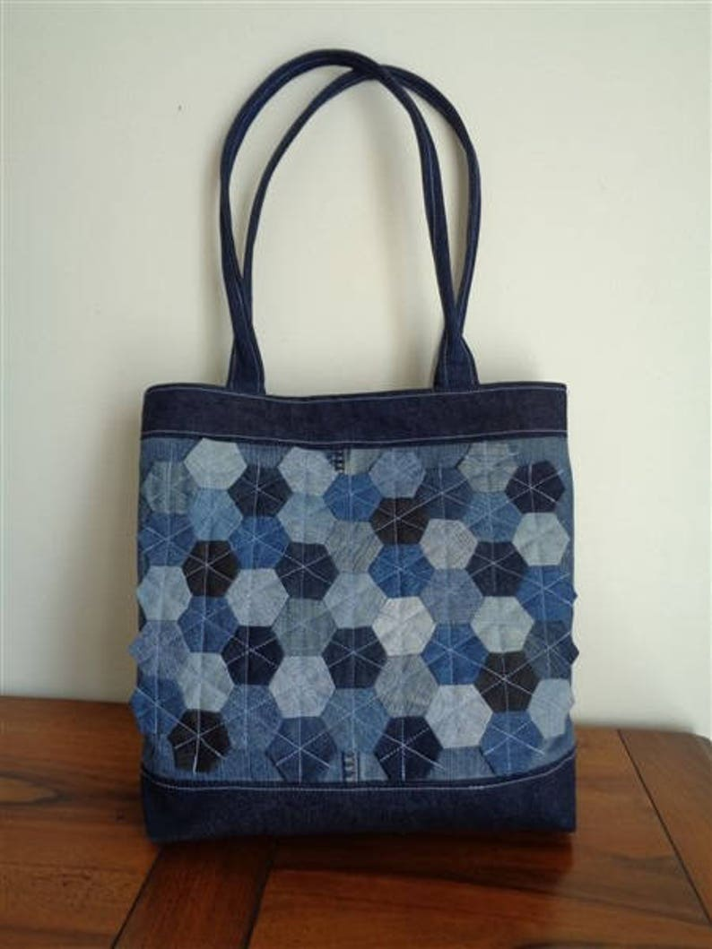 44033bafb A hand made of recycled denim canvas tote bag   Etsy