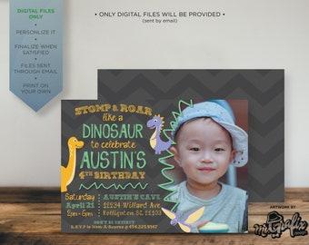 Dinosaur Birthday Invitation Dinosaurs Stomp Roar 3 Year Old 4year Invite Cards Dinos Boy