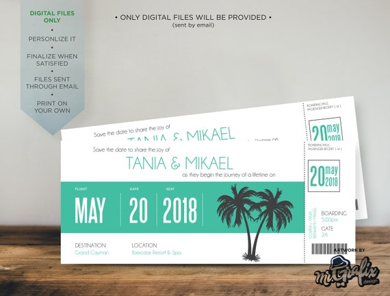 Save the date Invitation, Wedding, Destination Wedding, Invitation,  Boarding Pass invitation, down south wedding, save the date, palm trees