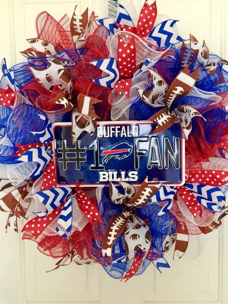 3793006f Buffalo Bills Wreath, football wreath, wreath for front door, buffalo bills  home decor, FL Wreath, buffalo wreath, bills wreath