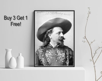 Buffalo Bill is an American Military, buffalo Hunter And Showman. Vintage Black & White or Sepia Reproduction Gloss Photograph.