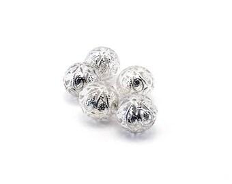 Set of 5 beads filigree lace silver metal