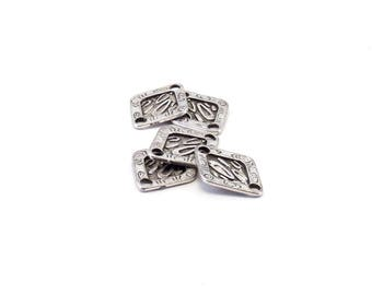 Set of 10 Indian pattern charm silver metal