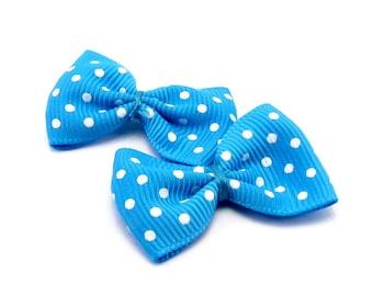 Set of 2 blue white polka dot fabric bows
