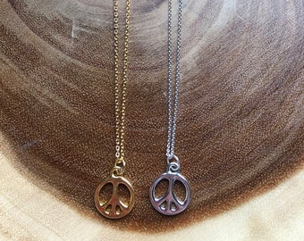 Charm Necklace, Chain Necklace, Dainty Necklace, Peace Sign Charm, Peace Sign Necklace, Birthday Gift, Boho, Layering Necklace, Gift Idea