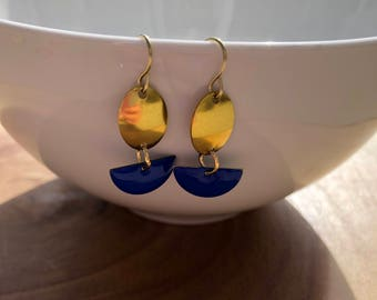 Dangle Earrings, Half Moon Earrings, Raw Brass Earrings, Oval Earrings, Royal Blue Earrings, Drop Earrings, Birthday Gift, Gift for Her