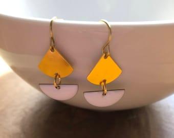 Dangle Earrings, Drop Earrings, Raw Brass Earrings, Triangle Earrings, Half Moon Earrings, Birthday Gift, Gift Idea, Gift for Women, Boho