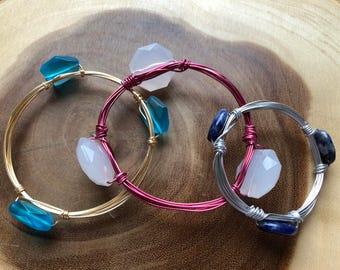 Wire Bracelets, Bead Bracelets, Bangle Bracelets, Stacking Bracelets, Gold Wire Bracelet, Silver Wire Bracelet, Birthday Gift, Gift Idea