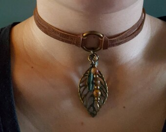 Bohemian Choker with leaf and Picasso Jasper