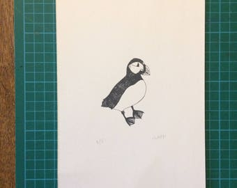 A5 Silk Screen Puffin Print