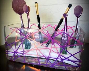 Geometric Holographic Makeup Brush Holder