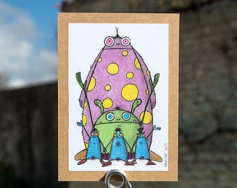 Machine Sumojito and his friends, colored pencils on paper