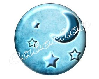 2 cabochons 18mm glass, moon stars, blue tone