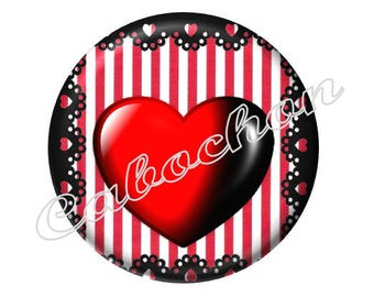 2 cabochons 20mm glass Coeur Valentine, red and black
