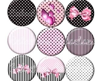 Set of 9 cabochons 16mm glass, dots, stripe, BowTie, ZC219