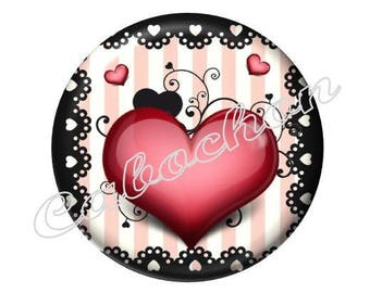 2 cabochons 18mm glass Coeur Valentine, red and black
