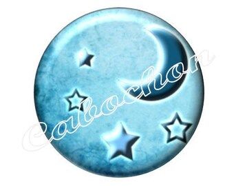 2 cabochons 20mm glass, moon stars, blue tone