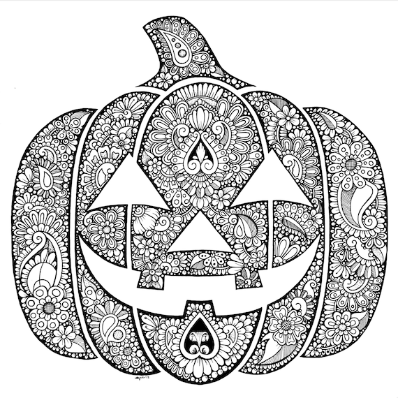Hand-Drawn Zentangle Jack-O-Lantern Coloring Page Digital Etsy