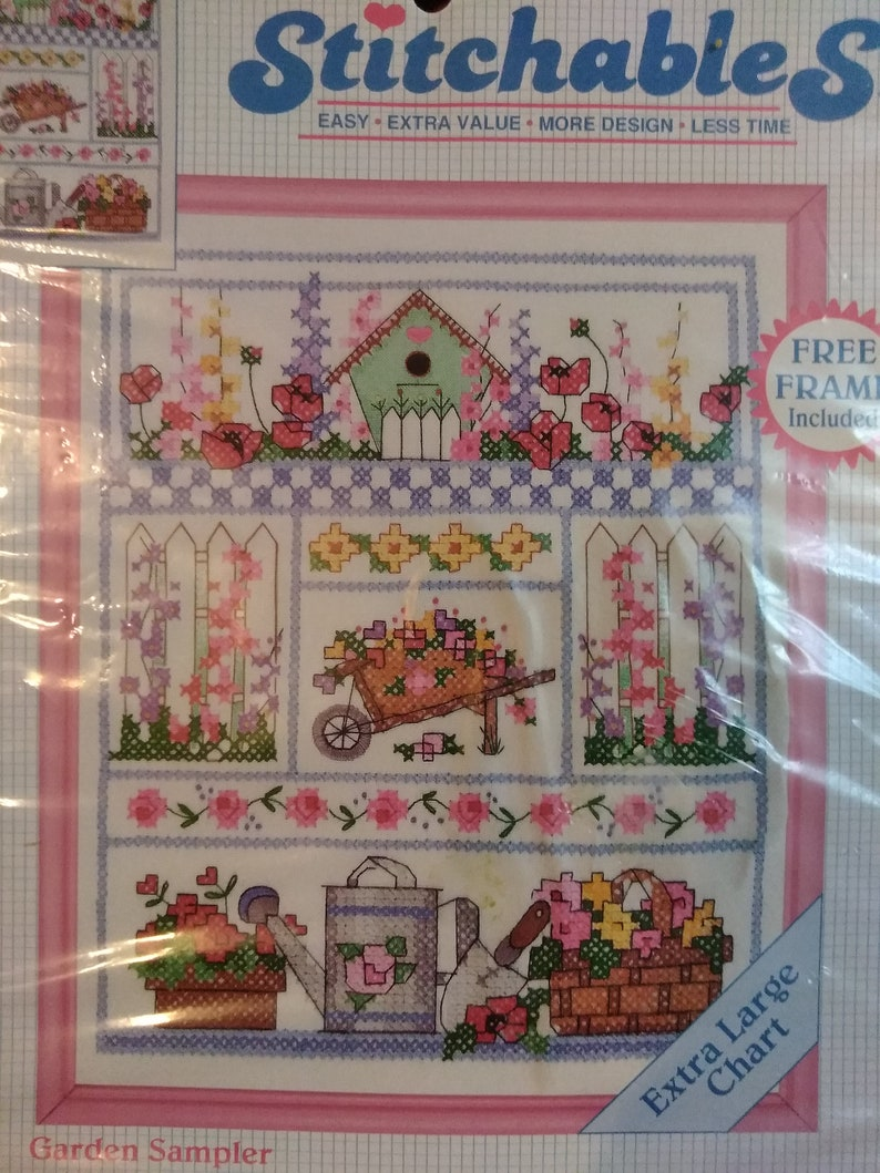 1993 GARDEN SAMPLER Counted Cross Stitch Kit 25 Count Linen 8 x 10/'