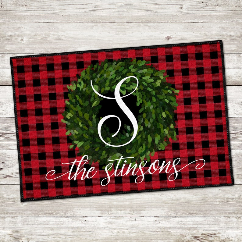 Personalized Door Mat  Christmas Welcome Mat  Buffalo Plaid -  Cozy Autumn Plaid and Checks as well as Stripes for You & Home...come find a favorite! #homedecor #plaid #checks #buffalo