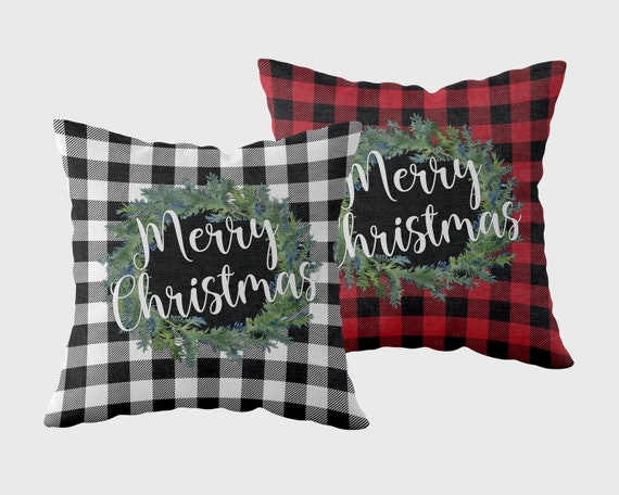 Plaid Christmas Pillows.Merry Christmas Throw Pillow Buffalo Plaid Christmas Buffalo Plaid Throw Pillow Green Plaid Black And White Christmas Decor