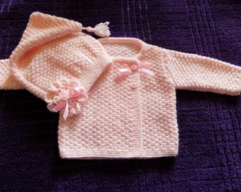Bra and hand knitted baby Pixie Hat