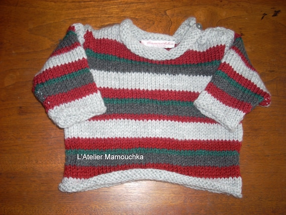 edb3e1c1a Striped 1 year sweater gray red and green