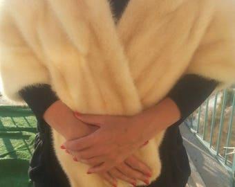 Vintage Mink cream cape