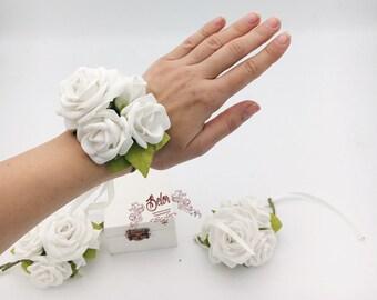 White flower corsage etsy white wrist corsage white bridesmaid corsage white rose wedding corsage bridesmaid corsage bridesmaid bracelet rose flower bracelet mightylinksfo