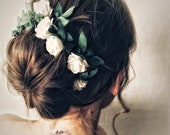 White wedding hair pins.  White bridal hairpiece. Greenery hair piece. Leaf headband.