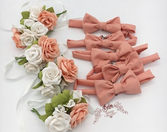 Peach Bridesmaid Wrist Corsage and Bow Tie Set  Wedding Bridal Corsage Set 5 Coral Bow Tie and 5 Bridesmaid Corsages Set Flower Corsage