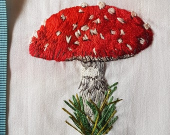Hand Embroidery Fly Agaric Toadstool