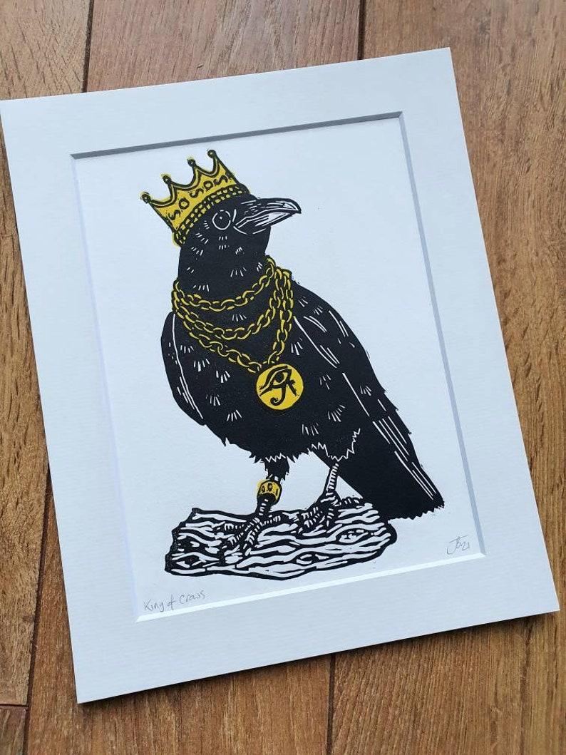 handmade original linocut art print King of Crows