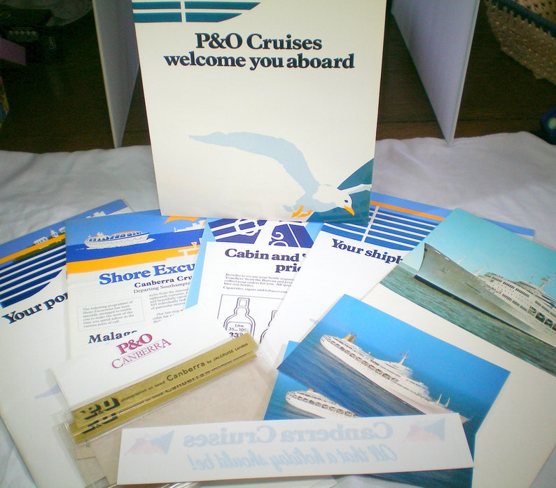 Pack of collectable 1980s P&O cruise ship memorabilia from the S S  CANBERRA, July 1986, vintage cruise liner programme, maritime ephemera