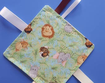 Noah's Ark Jungle Animals Crinkle Tag Toy, Ribbon Tag Toy, Sensory Toy, Crinkle Toy