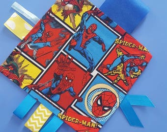 Spiderman Inspired Crinkle Tag Toy, Sensory Ribbon Tag Toy, Baby Spiderman Toy