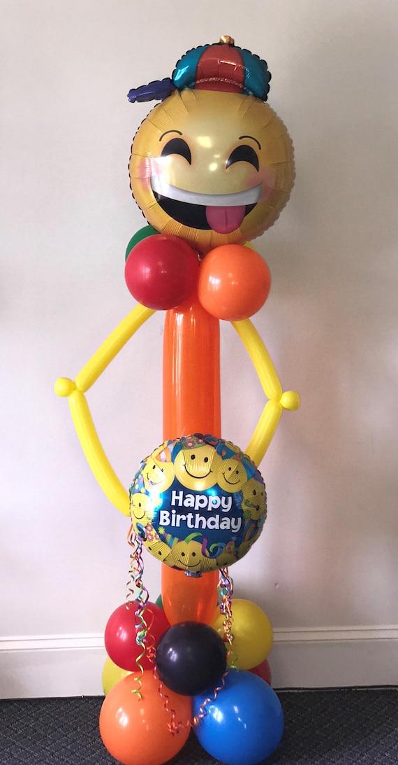 Emoji Man Happy Birthday DIY Balloon Column Kit Needs No