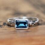 London blue topaz ring silver, emerald cut ring blue topaz engagement ring, december birthstone ring vintage silver ring, anne bronte custom