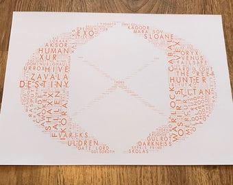 Destiny - Titan, Typography Word Art A4 Print, Destiny 2, Bungie