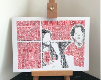 The White Stripes - Typography Word Art A4 Print